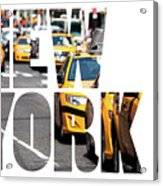 Yellow Cab Speeds Through Times Square In New York, Ny, Usa.  Acrylic Print