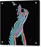 5291s-mak Nude Female Torso Rendered In Composition Style Acrylic Print