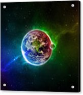56996 3d Space Scene Colorful Digital Art Earth Acrylic Print