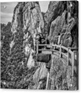 5807- Yellow Mountains Black And White Acrylic Print