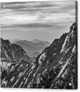 5818- Yellow Mountains Black And White Acrylic Print