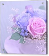 A Gift Of Preservrd Flower And Clay Flower Arrangement, Blue And Acrylic Print