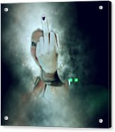 An Obscene Hand Sign Acrylic Print