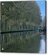 Barge On Burgandy Canal Acrylic Print