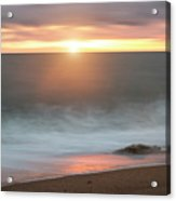 Beautiful Vibrant Sunset Landscape Image Of Burton Bradstock Gol Acrylic Print