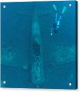Diver Explores The Wreck Acrylic Print