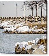 Frozen Winter Scenes On Great Lakes  Acrylic Print