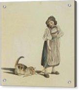 Girl With Cat Acrylic Print