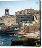 La Valletta Old Town Fortifications Architecture Scenic View In  Acrylic Print