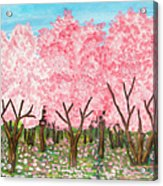 Pink Garden, Oil Painting Acrylic Print