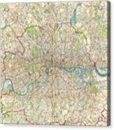 Vintage Map Of London England  Acrylic Print