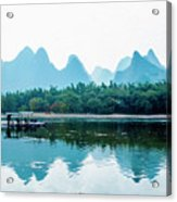 Lijiang River And Karst Mountains Scenery Acrylic Print
