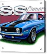 69 Camaro Ss In Blue Acrylic Print
