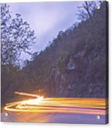 Automobile Traffic Long Exposure At Dusk In Pisgah National Park Acrylic Print