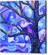 7 Birds On A Tree Acrylic Print