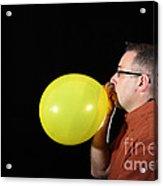 Man Inflating Balloon Acrylic Print