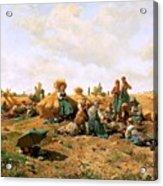 Peasants Lunching In A Field Daniel Ridgway Knight Acrylic Print