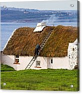 Traditional Thatch Roof Cottage Ireland Acrylic Print