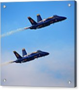 U S Navy Blue Angeles, Formation Flying, Smoke On Acrylic Print
