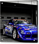 7763 Nissan Tuning Race Cars Blue Cars Selective Coloring Acrylic Print