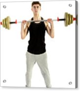 18 Year Old Teenage Boy Exercising With Weights Acrylic Print