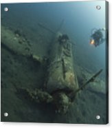 Diver Explores The Wreck Acrylic Print