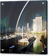 Docklands Double Rainbow Acrylic Print