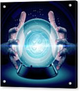 Hands On Crystal Ball And Cryptocurrency Acrylic Print