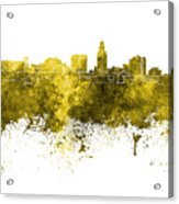 Lincoln Skyline In Watercolor Background Acrylic Print
