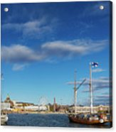 Old Sailing Boats In Helsinki City Harbor Port Finland Acrylic Print