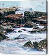 Rocks And Waves At Point Cartwright  Acrylic Print