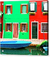 Burano Anisland Of Multi Colored Homes On Canals North Of Venice Italy Acrylic Print