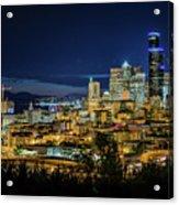 Seattle Skyline At Night Acrylic Print