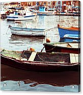 Traditional Boats At Marsaxlokk Harbor In Malta Acrylic Print