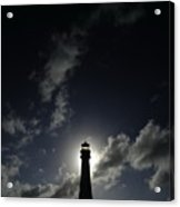 A Backlit View Of A Lighthouse Built Acrylic Print by Raul Touzon