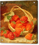 A Basket Of Strawberries On A Stone Ledge Acrylic Print