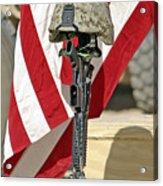 A Battlefield Memorial Cross Rifle Acrylic Print by Stocktrek Images