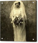 A Beautiful Vintage Photo Of Coloured Colored Lady In Her Wedding Dress Acrylic Print