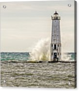 A Big Wave Crashes Into The Frankfort Light Acrylic Print