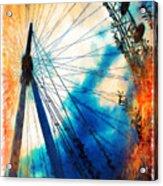 A Big Wheel Roller Coaster Ride Under A Sunset Acrylic Print