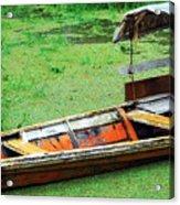 A Boat On Amazon Green Water Acrylic Print