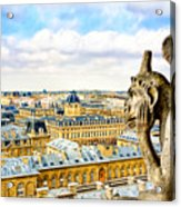 A Bored Gargoyle Sees Paris Acrylic Print by Mark E Tisdale