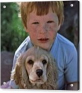 A Boy And His Dog With Evidence Of Stolen Brownie Acrylic Print