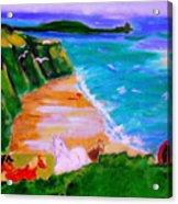 A Breezy Day At Rhosilli Bay Acrylic Print