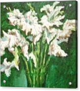 A Bunch Of White Gladioli Acrylic Print