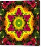 A Burst Of Flowers Kaleidoscope Acrylic Print