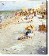 A Busy Beach In Summer Acrylic Print