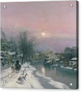 A Canal Scene In Winter  Acrylic Print by Anders Anderson Lundby
