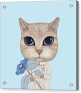 A Cat With A Blue Flower On White Acrylic Print