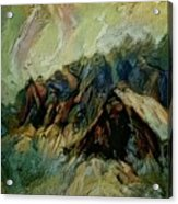 A Chance In The World Movie Dark Barn Crowded Into A Gully Between A Large Rocky Hill And A Grove Of Acrylic Print